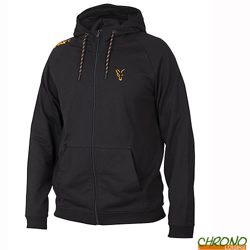 Fox Collection Noir /& Orange Léger à Capuche//Sweat à Capuche-Zip complet